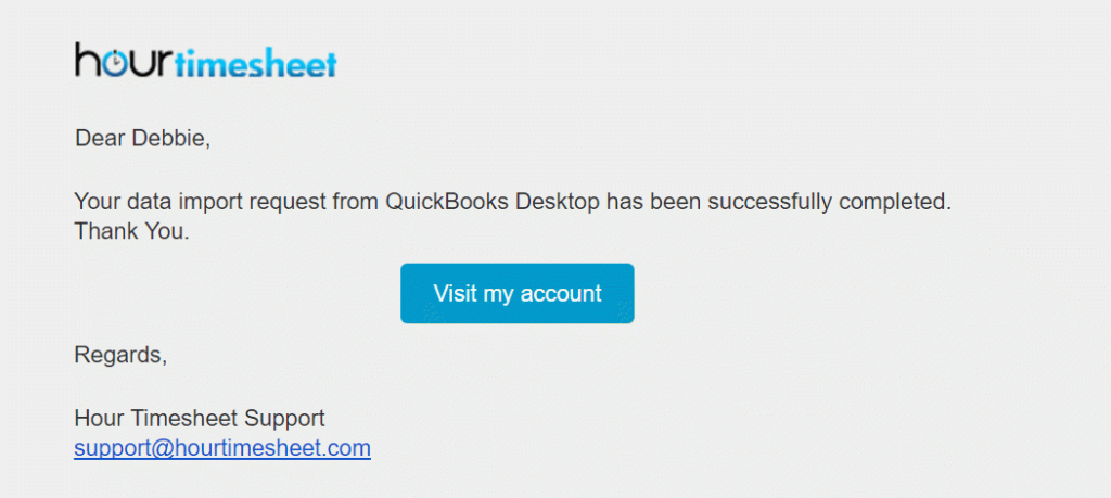 Automated email alert confirming successful import from QuickBooks
