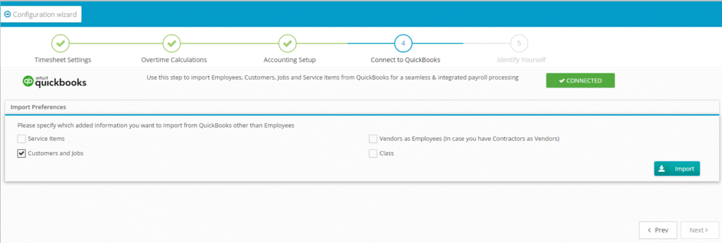 QuickBooks Online import preferences screenshot