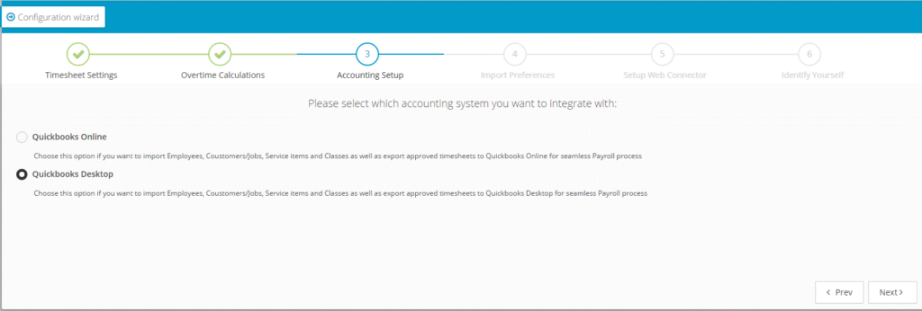 Setting up link to QuickBooks Desktop screenshot