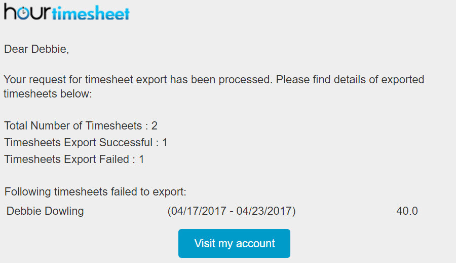 Export Timesheet Data to QuickBooks desktop - export email confirmation