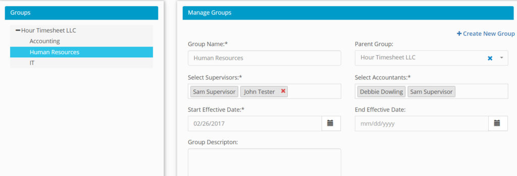 Assigning supervisors to groups screenshoet