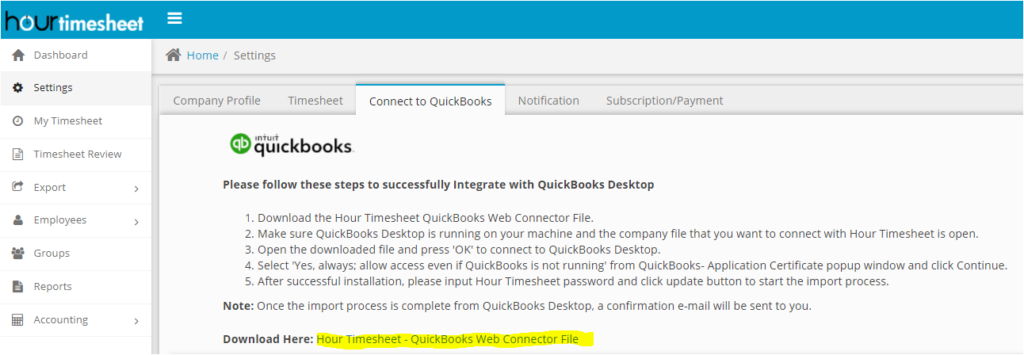 Hour Timesheet QuickBooks Web Connector LInk