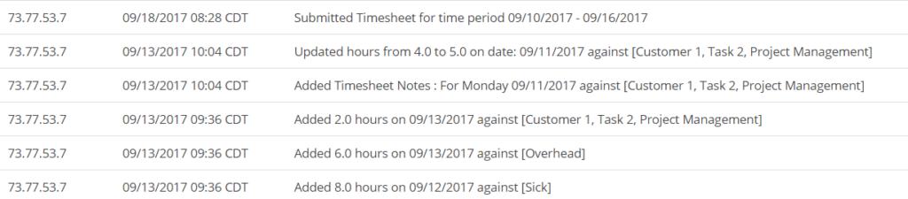 Detailed Timesheet Audit Trail screenshot