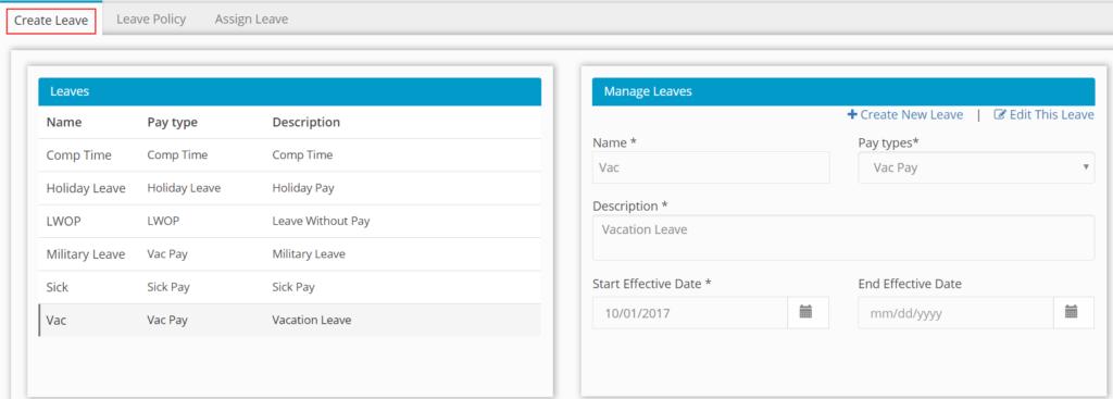 Create leave screenshot