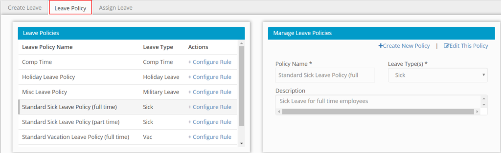 Create Leave Policy by Hour Timesheet screenshot