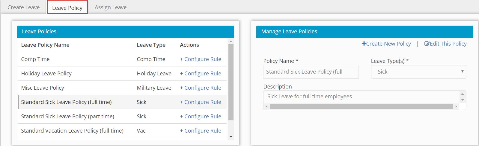 Create Leave Policy by Hour Timesheet screenshot