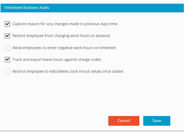 Timesheet Settings Business Rules